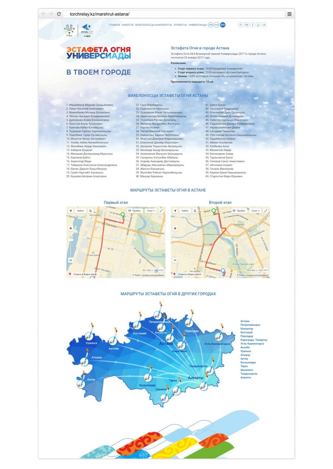 Маршруты Эстафета Огня Универсиада Алматы-2017