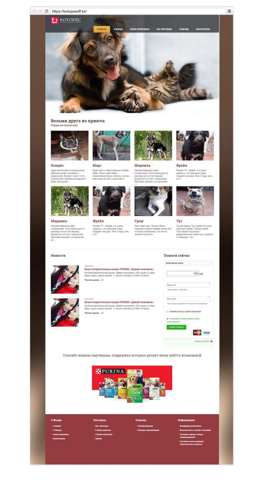 Разработка сайта для фонда в Алматы